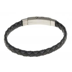 Bracelet acier - homme - cuir tressé gris et noir - réglable