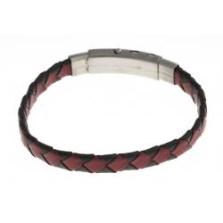 Bracelet acier - homme - cuir tressé rouge et noir - réglable