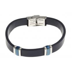 Bracelet acier 2 tons bleu et blanc - homme - cuir bleu - 21 cm