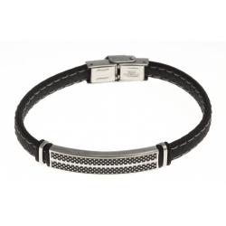 Bracelet acier 2 tons noir et blanc - homme - silicone - 21 cm
