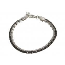 Bracelet acier 2 tons noir et blanc - 21 cm