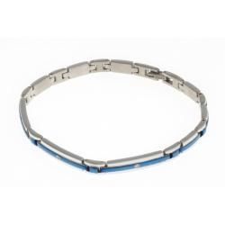 Bracelet acier 2 tons bleu et blanc - zircons - 21 cm