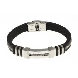 Bracelet acier - ajustable - caoutchouc noir - 21 cm