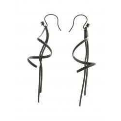 Boucles d'oreille acier noir - zircons - chaîne 70 mm