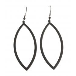 Boucles d'oreille acier noir - hauteur 70 mm