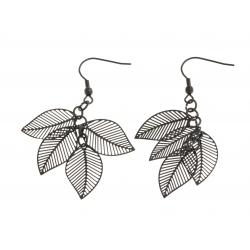 """Boucles d'oreille acier noir """"plumes"""""""