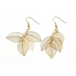 """Boucles d'oreille acier doré """"plumes"""""""