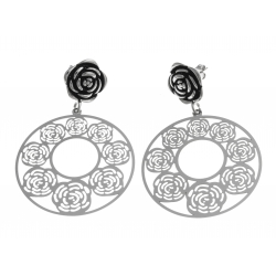 """Boucles d'oreille acier - """"rose"""" - diamètre 40mm"""