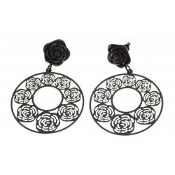 """Boucles d'oreille acier noir - """"rose"""" - diamètre 40mm"""