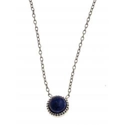 Collier argent rhodié 1,8g - lapis lazuli - 42+3 cm