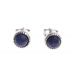 Boucles d'oreille argent rhodié 1g - lapis lazuli