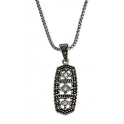 Collier argent rhodié 5,3g - marcassites - zircons - 45 cm