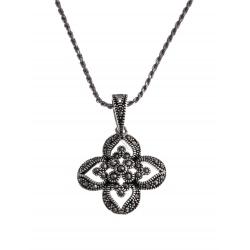 Collier argent rhodié 6,4g - marcassites - 45 cm