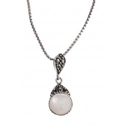 Collier argent rhodié 3g - marcassites - nacre blanche - 40 cm