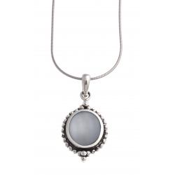 Collier argent rhodié 6,8g - nacre bleue - 40cm