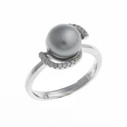 Bague argent rhodié 3,5g - perle de culture grise - zircons - T 54 à 58