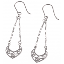 """Boucles d'oreille argent rhodié 2,4g - """"coeur"""" - chaine 2,5 cm"""