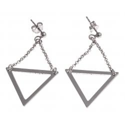 Boucles d'oreille argent rhodié 3,2g - triangle inversé