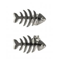 """Boucles d'oreille argent rhodié 1,6g """"arete de poisson"""""""