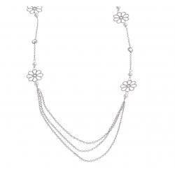 Collier argent rhodié 3,6g - fleurs - perles - zircons - 16+3 cm