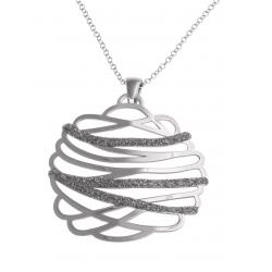 Collier argent rhodié 5,9g - finition diamantée - 44 cm