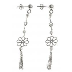 Boucles d'oreille argent rhodié 2,1g - fleurs - perles - zircons - 5 cm