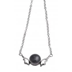 """Collier argent rhodié 2,9g - """"ailes d'ange"""" - perle de culture noire - 40+4cm"""