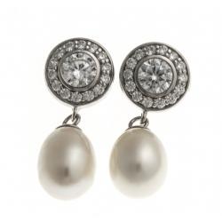 Boucles d'oreille en argent rhodié 4g - perles véritables blanches - zircons