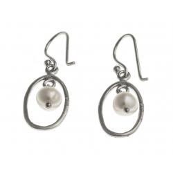 Boucles d'oreille argent rhodié 2g - perles de culture blanches
