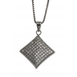 Collier argent rhodié 4,9 - zircons -  40 cm
