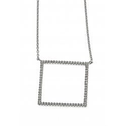Collier argent rhodié 2,9g - zircons - 45 cm