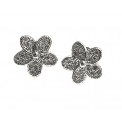 """Boucles d'oreille argent rhodié 2,2g - """"fleur"""" - zircons"""