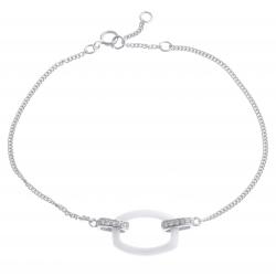 Bracelet argent rhodié 2,3g - céramique blanche - zircons - 17+