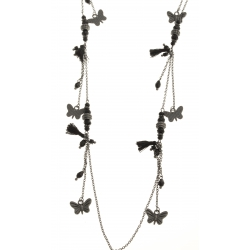 Sautoir fantaisie - finition noire - 100 cm