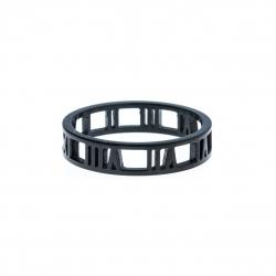 """Anneau interne SCREW - acier noir - """"chiffres romains"""" - 5mm - H/F - T 57 ˆ 73"""