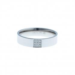 Anneau interne SCREW - acier - zircons - 1 carré - 5 mm - Taille 57 à 65