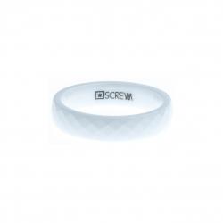 Anneau interne SCREW - céramique blanche facettée - 5 mm - Taille 57 à 67