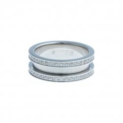 Bague support SCREW - 7,5 mm - acier – zircons - Taille 50 à 60