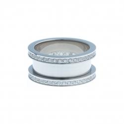 Bague support SCREW - 10 mm - acier – zircons - Taille 52 à 62