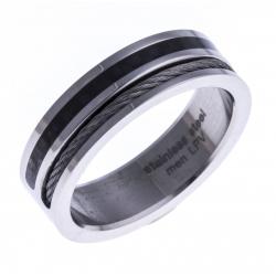 Bague acier homme - câble blanc - carbone noire - 8mm - T 56 à 70