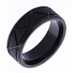 Bague tungstène - finition mat - Black IP -  8mm - T 60 à 68