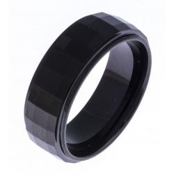 Bague tungstène - finition brillante - facettée - Black IP -  8mm - T 60 à 68
