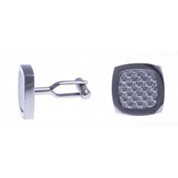 Boutons de manchette - fibre de carbone blanche - 16x16mm