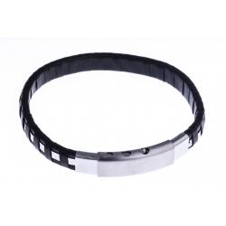 Bracelet acier homme - cuir noir - réglable