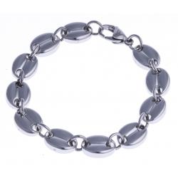 """Bracelet acier - """"grains de café"""" - 10mm - 22cm"""