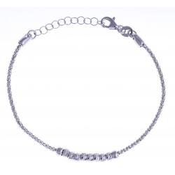 """Bracelet argent rhodié 3,2g - """"boules"""" - 17+3cm"""