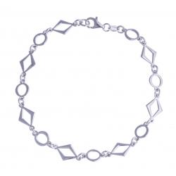 """Bracelet argent rhodié 4,6g - """"losanges et ronds"""" - 19,5cm"""