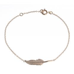 """Bracelet plaqué or - """"plume"""" - 16+2cm"""