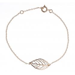 """Bracelet plaqué or - """"feuille"""" - 16+2cm"""