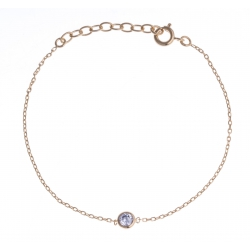 "Bracelet plaqué or - ""zircon"" - 16+3cm"